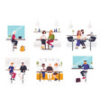set of men and women sitting at cafe or restaurant vector image vector image