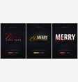 set of merry christmas typographical on dark vector image