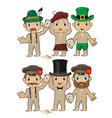 set young men in various hats isolated on white vector image vector image