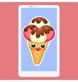 Smartphone with Ice Cream in flat cartoon style vector image