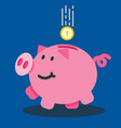 smiling piggy bank with a falling coin vector image vector image