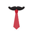 striped bowtie with mustache icon vector image
