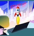 successful start up rocket launch offise vector image