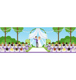 wedding ceremony in summer park newlyweds under vector image vector image