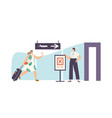 worried woman tourist character with ticket vector image vector image