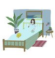 young woman is watching tv in bed before sleeping vector image vector image