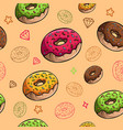 yummy donuts seamless pattern image vector image