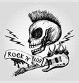 rock and roll skull guitar hand drawing vector image