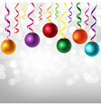 Border With Color Serpentine And New Years Toys vector image