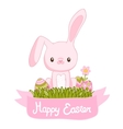 Happy Easter cartoon cute bunny and eggs with vector image