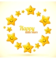 Cute little smiling stars frame vector image