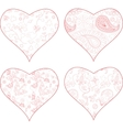 4 heart silhouettes vector image vector image