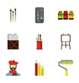 Art icons set flat style vector image vector image