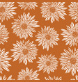Aster dahlia flowers white on gold brown seamless