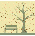 Autumn tree and benches falling maple leaves vector image