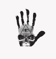 banner with handprint human skull and third eye vector image vector image