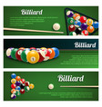 billiards sport banner for snooker and pool design vector image vector image