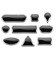 black glass buttons with chrome frame vector image vector image