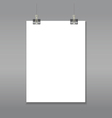 Blank page mock up hanging on paper clips vector image