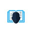 book human head logo icon design vector image