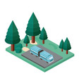 bus parking and trees scene isometric icon vector image vector image