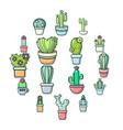 cactus flower icons set cartoon style vector image