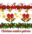 christmas horizontal seamless set background vector image vector image