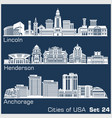cities usa - lincoln henderson anchorage vector image vector image