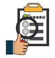 clipboard checklist with magnifying glass vector image vector image