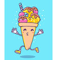 colorful of character ice cream with legs an vector image vector image