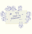 cute little kids show a blank exercise book vector image vector image