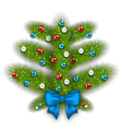 Decorated abstract Christmas tree with glass balls vector image