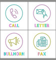 digital application linear icons with symbols set vector image