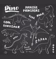 dino doodles set cute dinosaurs sketch vector image vector image