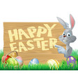 easter bunny and eggs sign vector image vector image
