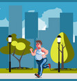 fat man feeling run in park vector image vector image