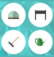 flat icon dacha set of barbecue harrow hothouse vector image vector image