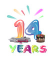 fourteen years anniversary celebration vector image vector image