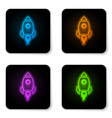 glowing neon rocket ship with fire icon isolated vector image vector image