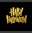 halloween gold glitter lettering greeting card vector image