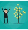 Happy businessman and money plant vector image