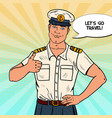 happy sea captain showing thumb up vector image vector image