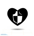 heart black icon love symbol shield in heart vector image
