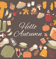 hello autumn set fall cute objects vector image