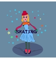 Little blond girl on ice skating Snow and freedom vector image vector image