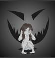 little girl haunted fear in her head vector image