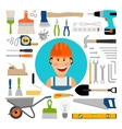 Male worker with working and construction tools vector image vector image