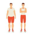 man sportive and fat person vector image vector image