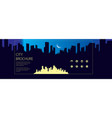 night wide panorama simple minimalistic city vector image vector image