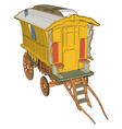 old yellow carriage on white background vector image vector image